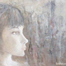 Arte: PERFIL DE MUJER JOVEN. PINTURA SOBRE TABLERO. GRAN FORMATO. Lote 174988622