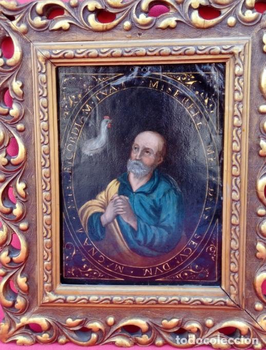 Arte: ÓLEO S/COBRE -LA NEGACIÓN DE SAN PEDRO-. ESCUELA ESPAÑOLA SIGLO XVII. DIMENSIONES.- 35X29,5 CMS - Foto 2 - 174994315