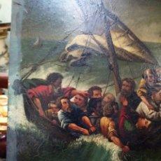 Arte: SIGLO XIX BARCO EN LA TEMPESTA, ÓLEO SOBRE CARTÓN, CM. 31,5X30,7. Lote 175022809