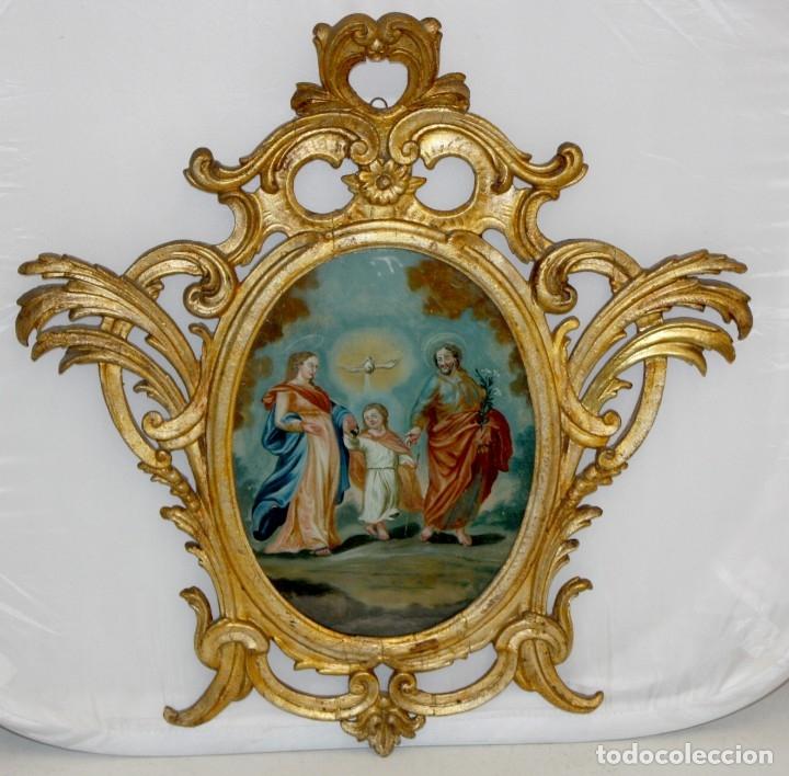 LA SAGRADA FAMILIA PINTADA BAJO VIDRIO DEL SIGLO XVIII CON CORNUCOPIA ORIGINAL (Arte - Pintura - Pintura al Óleo Antigua siglo XVIII)