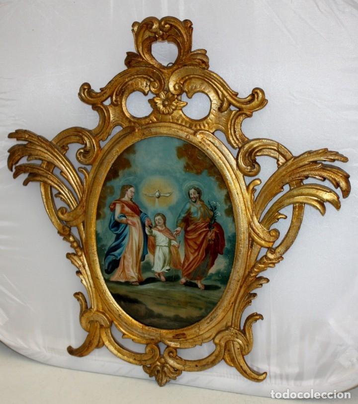 Arte: LA SAGRADA FAMILIA PINTADA BAJO VIDRIO DEL SIGLO XVIII CON CORNUCOPIA ORIGINAL - Foto 3 - 175047027