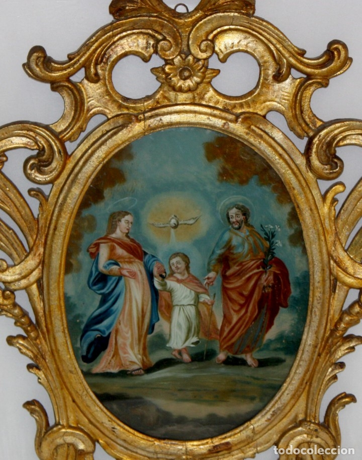 Arte: LA SAGRADA FAMILIA PINTADA BAJO VIDRIO DEL SIGLO XVIII CON CORNUCOPIA ORIGINAL - Foto 4 - 175047027