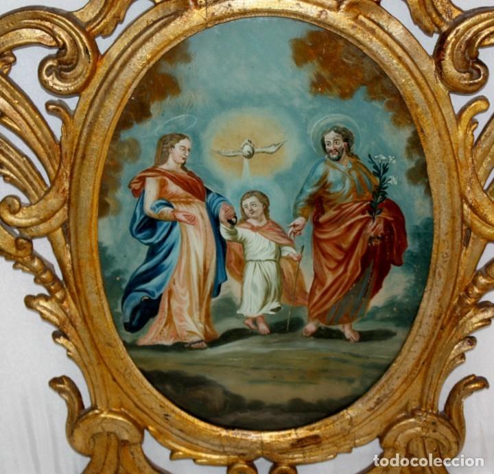 Arte: LA SAGRADA FAMILIA PINTADA BAJO VIDRIO DEL SIGLO XVIII CON CORNUCOPIA ORIGINAL - Foto 5 - 175047027
