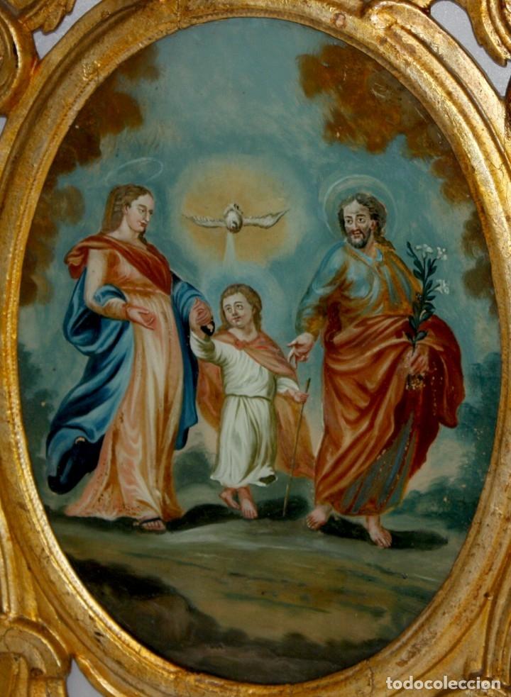 Arte: LA SAGRADA FAMILIA PINTADA BAJO VIDRIO DEL SIGLO XVIII CON CORNUCOPIA ORIGINAL - Foto 6 - 175047027