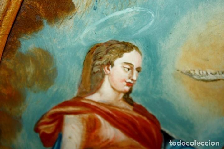Arte: LA SAGRADA FAMILIA PINTADA BAJO VIDRIO DEL SIGLO XVIII CON CORNUCOPIA ORIGINAL - Foto 8 - 175047027