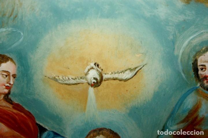 Arte: LA SAGRADA FAMILIA PINTADA BAJO VIDRIO DEL SIGLO XVIII CON CORNUCOPIA ORIGINAL - Foto 9 - 175047027