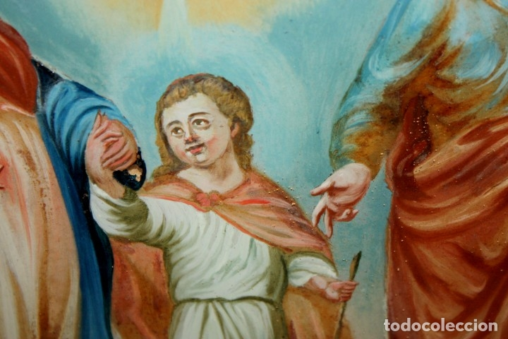 Arte: LA SAGRADA FAMILIA PINTADA BAJO VIDRIO DEL SIGLO XVIII CON CORNUCOPIA ORIGINAL - Foto 10 - 175047027