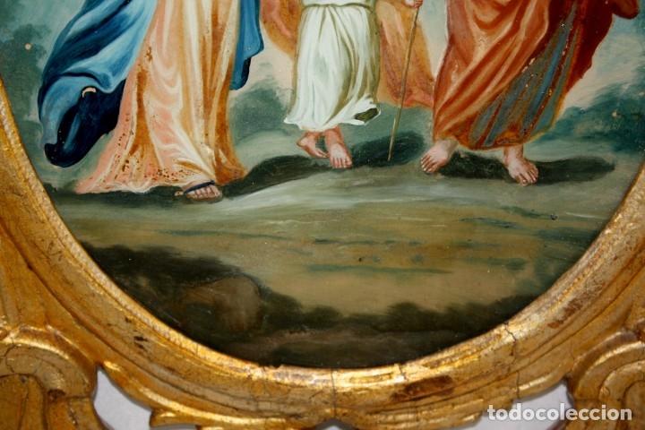 Arte: LA SAGRADA FAMILIA PINTADA BAJO VIDRIO DEL SIGLO XVIII CON CORNUCOPIA ORIGINAL - Foto 11 - 175047027