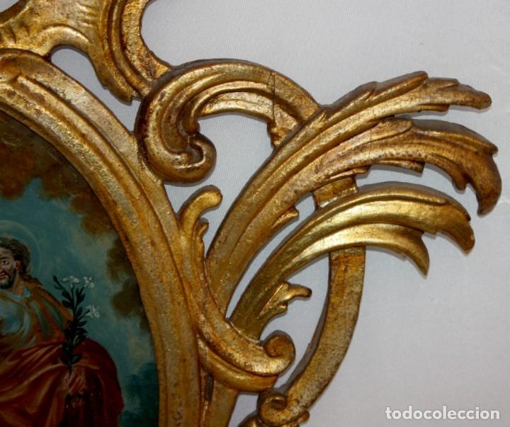 Arte: LA SAGRADA FAMILIA PINTADA BAJO VIDRIO DEL SIGLO XVIII CON CORNUCOPIA ORIGINAL - Foto 13 - 175047027