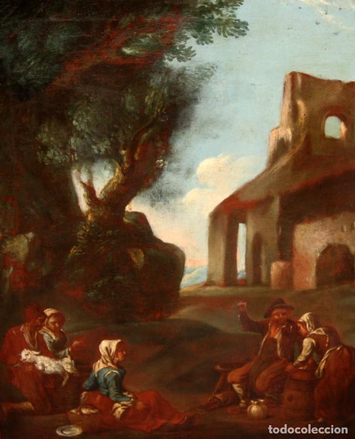 ESCUELA ITALIANA DE LA 2ª MITAD DEL SIGLO XVIII. OLEO SOBRE TELA. ESCENA CAMPESTRE (Arte - Pintura - Pintura al Óleo Antigua siglo XVIII)