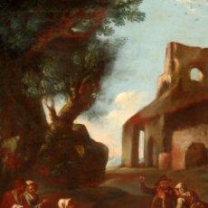 Arte: ESCUELA ITALIANA DE LA 2ª MITAD DEL SIGLO XVIII. OLEO SOBRE TELA. ESCENA CAMPESTRE. Lote 175047699