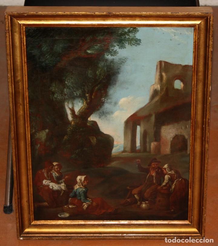 Arte: ESCUELA ITALIANA DE LA 2ª MITAD DEL SIGLO XVIII. OLEO SOBRE TELA. ESCENA CAMPESTRE - Foto 2 - 175047699