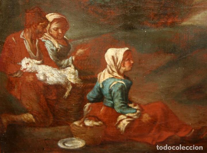Arte: ESCUELA ITALIANA DE LA 2ª MITAD DEL SIGLO XVIII. OLEO SOBRE TELA. ESCENA CAMPESTRE - Foto 3 - 175047699