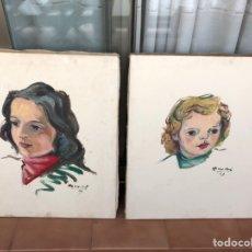 Arte: PAREJA ÓLEO CUADROS RETRATOS FIRMADOS. Lote 175070158
