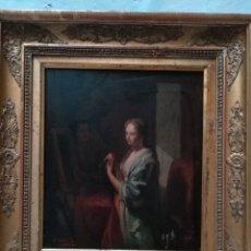 Arte: JOVEN FRENTE AL ESPEJO , PINTADO POR EMILIO SALA FRANCES. Lote 175106602