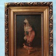 Arte: MANOLA CON ABANICO Y MANTILLA , PINTADO POR ANGEL ROBLES QUINTANA. Lote 175112489
