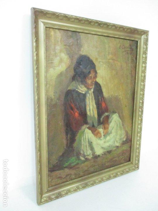Arte: Bonita Pintura al Óleo sobre Tela - Firma O. Casellas - Figura - Año 1920 - Foto 2 - 175136709