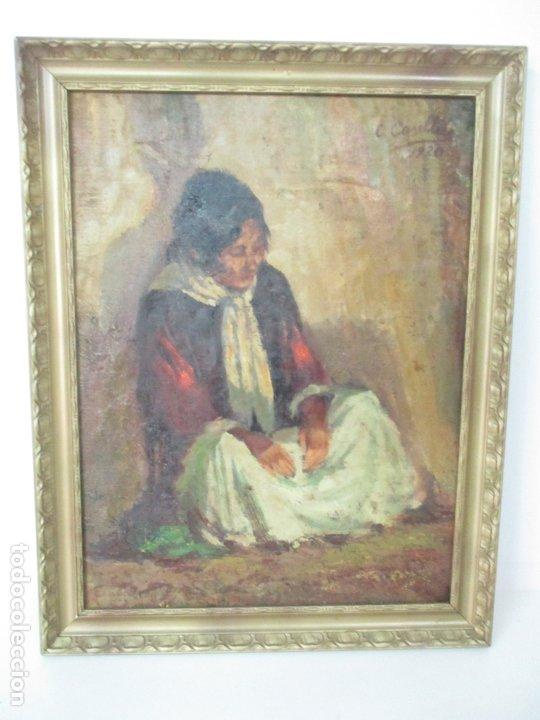 Arte: Bonita Pintura al Óleo sobre Tela - Firma O. Casellas - Figura - Año 1920 - Foto 3 - 175136709