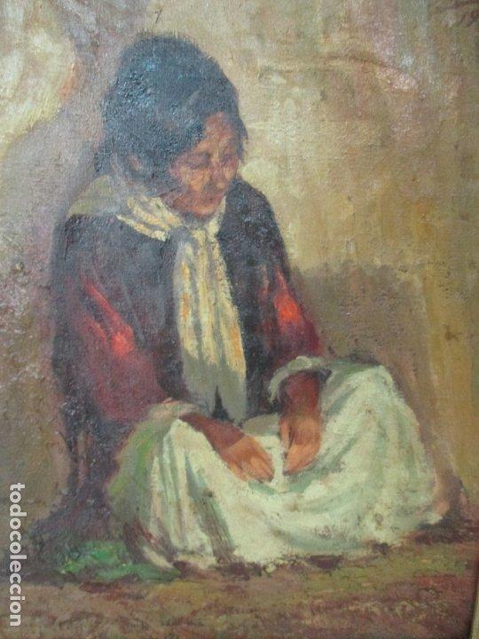 Arte: Bonita Pintura al Óleo sobre Tela - Firma O. Casellas - Figura - Año 1920 - Foto 4 - 175136709