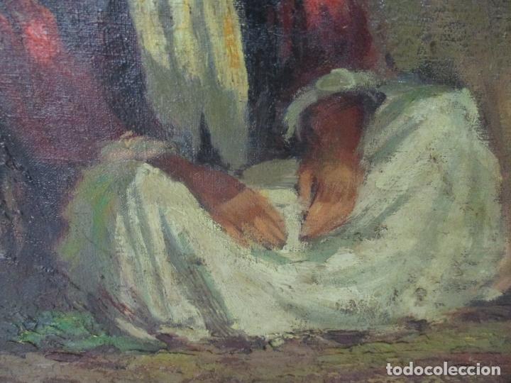 Arte: Bonita Pintura al Óleo sobre Tela - Firma O. Casellas - Figura - Año 1920 - Foto 5 - 175136709