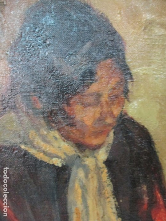 Arte: Bonita Pintura al Óleo sobre Tela - Firma O. Casellas - Figura - Año 1920 - Foto 6 - 175136709