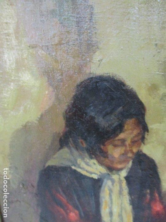 Arte: Bonita Pintura al Óleo sobre Tela - Firma O. Casellas - Figura - Año 1920 - Foto 7 - 175136709