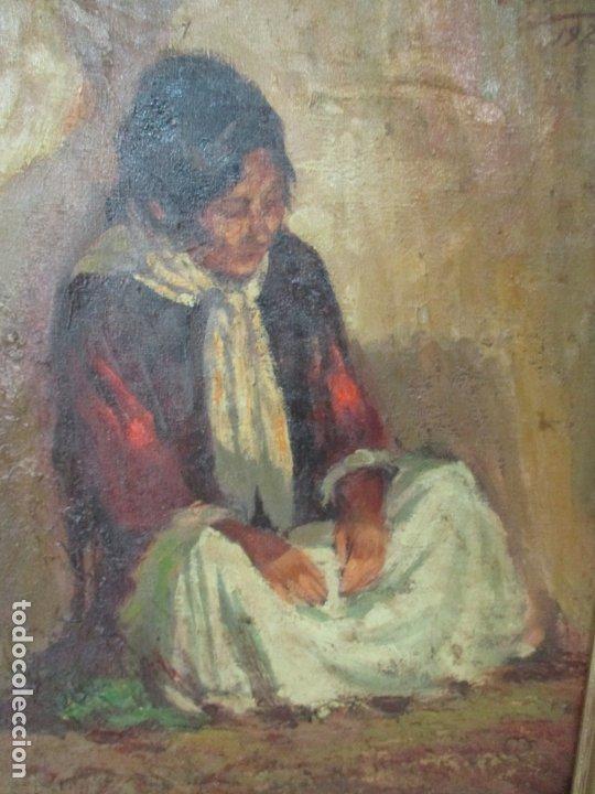 Arte: Bonita Pintura al Óleo sobre Tela - Firma O. Casellas - Figura - Año 1920 - Foto 8 - 175136709