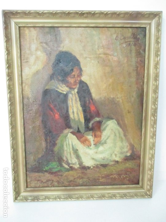 Arte: Bonita Pintura al Óleo sobre Tela - Firma O. Casellas - Figura - Año 1920 - Foto 14 - 175136709