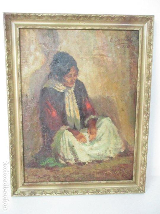 BONITA PINTURA AL ÓLEO SOBRE TELA - FIRMA O. CASELLAS - FIGURA - AÑO 1920 (Arte - Pintura - Pintura al Óleo Moderna sin fecha definida)