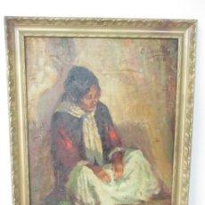 Arte: BONITA PINTURA AL ÓLEO SOBRE TELA - FIRMA O. CASELLAS - FIGURA - AÑO 1920. Lote 175136709