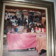 Arte: CUADRO OLEO FRANCESC SILLUE PUESTO MERCADO BARCELONA. Lote 175201125