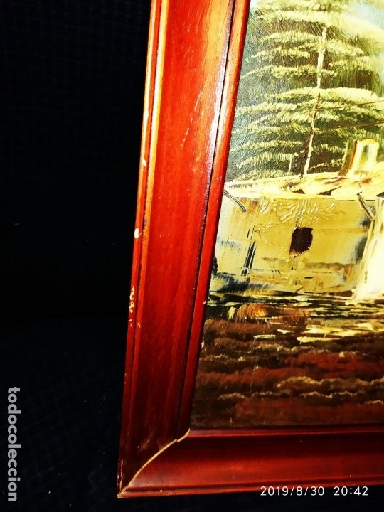 Arte: ÓLEO SOBRE TABLA FIRMADO GUILLEM ? GUILLEN ? ANTIGUO PAISAJE CAMPO CASA ESCENA CAMPESTRE - Foto 3 - 175226713