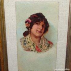Arte: OLEO SOBRE TABLA DE DIEGO MARIN LOPEZ(GRANADA 1865-1917).MUJER DE CÁDIZ.BUEN TRAZO.. Lote 175234108