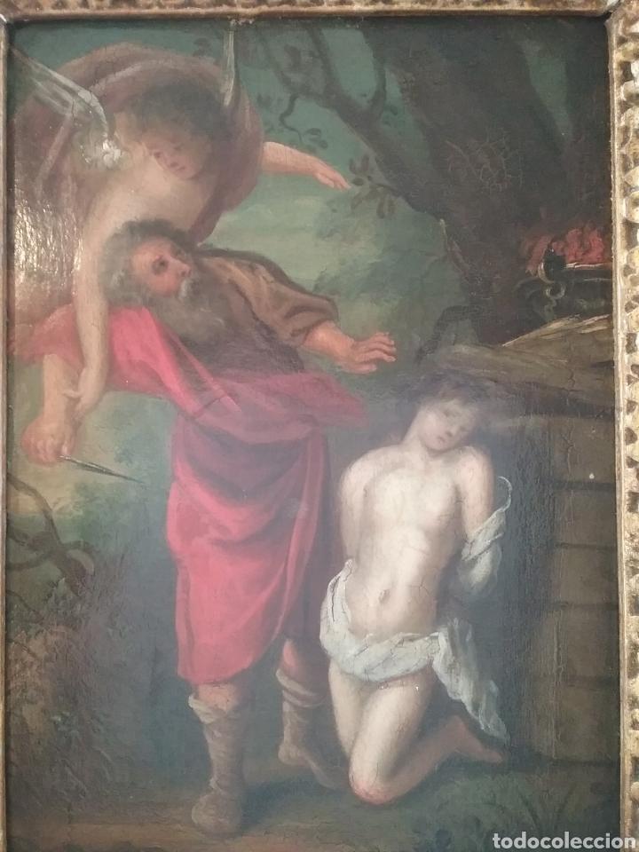 Arte: Cuadro anónimo escuela holandesa s XVIII, El sacrificio de Abraham óleo sobre tabla. - Foto 2 - 175261974