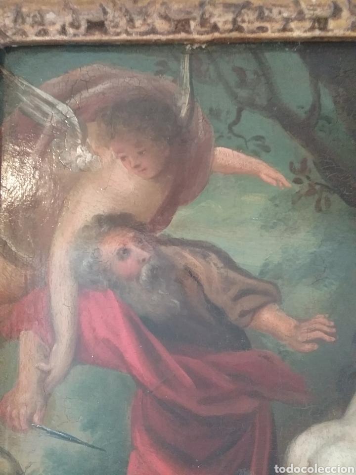 Arte: Cuadro anónimo escuela holandesa s XVIII, El sacrificio de Abraham óleo sobre tabla. - Foto 3 - 175261974