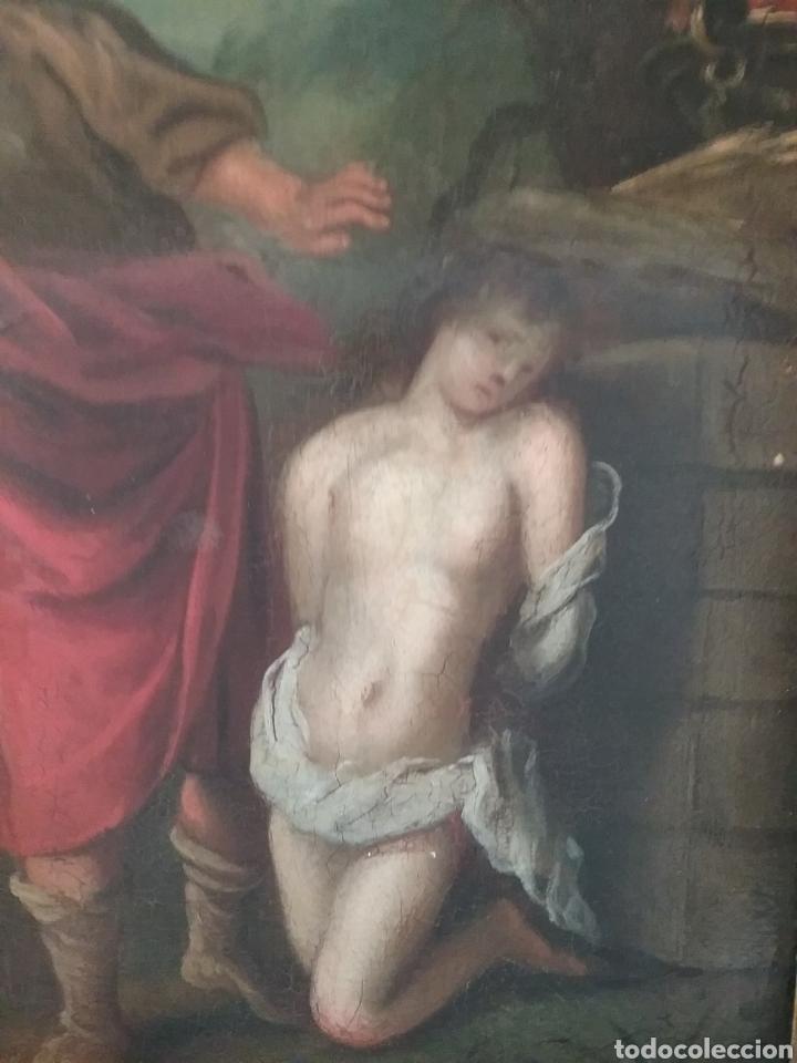 Arte: Cuadro anónimo escuela holandesa s XVIII, El sacrificio de Abraham óleo sobre tabla. - Foto 4 - 175261974