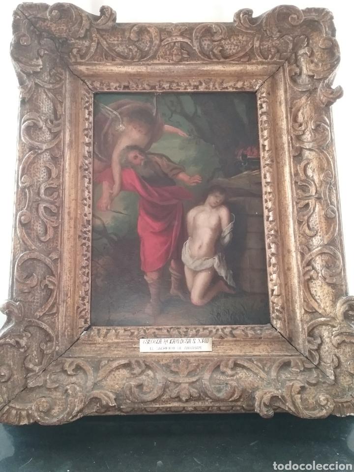 CUADRO ANÓNIMO ESCUELA HOLANDESA S XVIII, EL SACRIFICIO DE ABRAHAM ÓLEO SOBRE TABLA. (Arte - Pintura - Pintura al Óleo Antigua siglo XVIII)