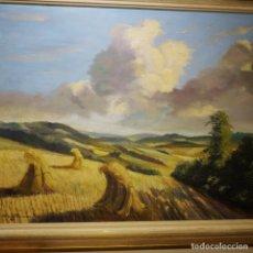Arte: CUADRO OLEO PAISAJE DE SIEGA, FIRMADO, BUEN TAMAÑO 91 X 71. Lote 108279519