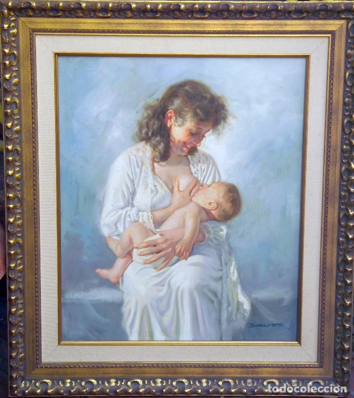 MATERNIDAD - JUAN IGNACIO BURGUETE ALBALAT ( VALENCIA 1945) (Arte - Pintura - Pintura al Óleo Contemporánea )