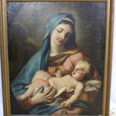 Arte: VIRGEN MARÍA CON NIÑO JESUS- ESCUELA ITALIANA- ÓLEO SOBRE LIENZO- S XVII. Lote 175414775
