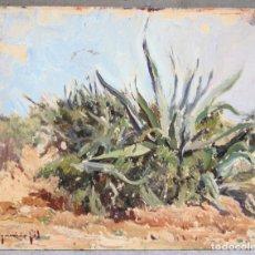 Arte: IGNACIO GIL (1913 - 2003), PAISAJE CON PLANTAS, PINTURA AL ÓLEO SOBRE TÁBLEX. 27X22CM. Lote 175502438
