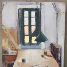 Arte: IGNACIO GIL (1913 - 2003), ESTUDIO DEL ARTISTA Y ESCENA ORIENTAL, ÓLEO SOBRE TÁBLEX. 26X18CM. Lote 175505003