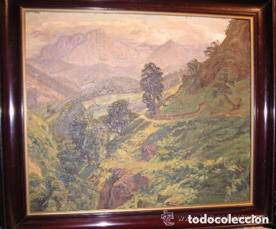 ÓLEO SOBRE LIENZO ,PAISAJE MONTAÑES ,FIRMADO CARRETERO (Arte - Pintura - Pintura al Óleo Antigua sin fecha definida)