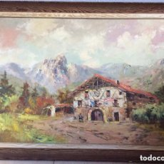 Arte: CASERIO ZONA DURANGUESADO,ÓLEO SOBRE LIENZO ,FIRMADO JUAN BENITO OLIVARES,(BILBAO 1909 PRECIOSA ÓLE. Lote 175599002