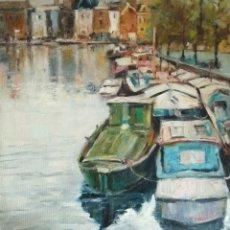 Arte: ÓLEO MARINA.CANAL DE AMSTERDAM. Lote 175666730