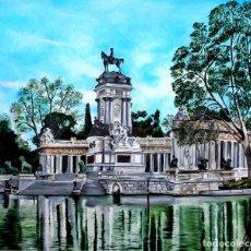 Arte: RETIRO DE MADRID OBRA DE MERCEDES GILABERTE INCLUYO MARCO COLOR PLATA. Lote 175669212