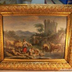 Arte: MUY BELLO OLEO SOBRE TABLA ESCENA GOYESCA. LAVANDERAS JUNTO AL RÍO. MUY BELLO MARCO DE LA ÉPOCA.. Lote 175672728