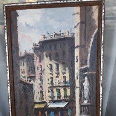 Arte: CUADRO DE PINTURA ,PAISAJE URBANO BARCELONA. Lote 175703589