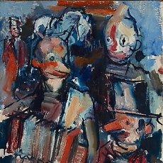 Arte: JOAN SERRA MELGOSA (1899 –1970) ESCENA CIRCENSE CON REPRESENTACIÓN DE PAYASOS. ETIQUETA SALA PARÉS. Lote 175722180