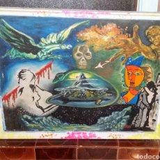 Arte: ARTÍSTICO MUNDO INTERIOR RECREANDO UNA VISIÓN PROPIA. CURIOSA COMPOSICIÓN CON DISTINTAS TÉCNICAS. Lote 175733637
